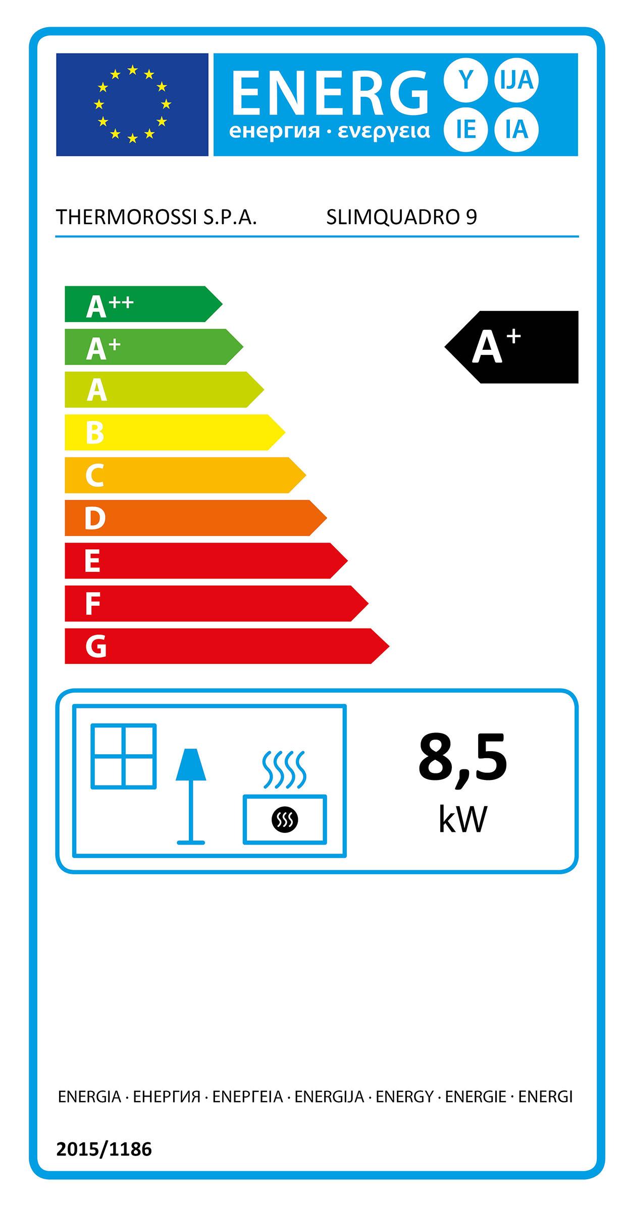 Pelletkachel Thermorossi - slimquadro-9 - energielabel